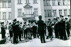 A photo of the Royal band serenading the ceremony of Prince Richard and Princess Benedikte's wedding.