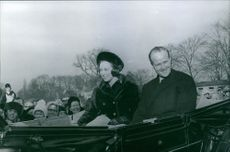 Princess Benedikte and Richard, 6th Prince of Sayn-Wittgenstein-Berleburg, seen riding a horse drawn carriage.