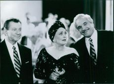 Donald O'Connor, Rue McClanahan and Hal Linden in a scene from the film Out to Sea, 1997.