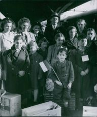 Belgian refugees in Sweden, the so called Astrid children, returning home, with captain Ullman as their guide, Sept. 1945.