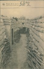 Vintage photo of military bunkers in Belgium during the World War I in 1914.