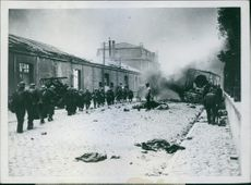 View of a street the soldiers passing by during Denmark War.