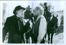 Jack Palance and Terence Stamp in the film Young Guns, 1988.