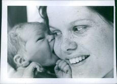 1971 - Newborn with woman/girl/mother at a maternity ward.