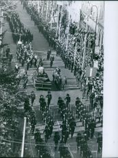 People gathered in the street during Princess Alexandra Funeral Ceremony.