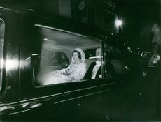 Prince Richard and Princess Benedikte in a vehicle on their wedding day on 3 February 1968.