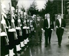 Alexander Dubček inspecting the guard of honor.