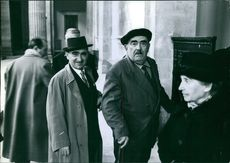 Vintage photo of Marie Besnard and two other men. Photo taken on December 19, 1961.