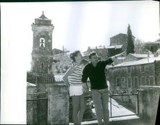 Georges Ulmer with his daughter Laura Ulmer, sightseeing. 1961.