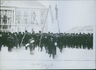 Reservists returning to their regiment in Serbia.