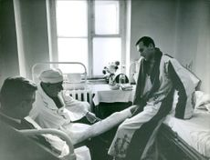 Doctors checking up on the injury of Valeriy Brumel. 1969.