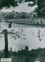 The before/after the bombing of the Royal Palace of Warsaw.