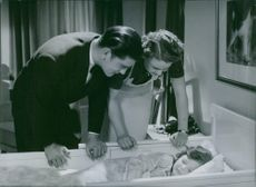 """A scene from the film """"Family Secret"""" casting by Birgit Tengroth and Kotti Chave,  1937."""