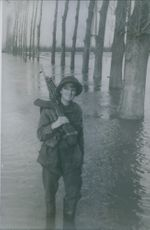Private Harold Cox, of Esseex, armed with his Bren gun, on a watery patrol along a flooded road on the Dutch front.