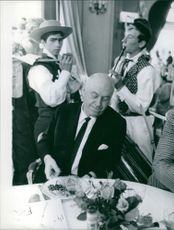 Otto Ludwig Preminger enjoys most of all during the party music and good French  Gastronomic specialties during in the 14th International Festival of Movies in Cannes.