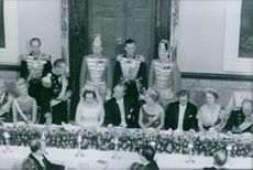 Richard, 6th Prince of Sayn-Wittgenstein-Berleburg and Princess Benedikte of Denmark with their guests at their wedding reception.