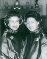 1980 HRH Princess Margaret celebrates her 50th birthday on 21st August 1980. Her Royal Highness is photographed with her elder sister, HM The Queen(left) at Royal Lodge, Windsor.