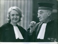 Lawyers of Marie Besnard's case smiling. Photo taken on December 19, 1961.