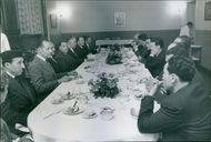Former Algerian President Ferhat Abbas conducting a meeting with some people, 1962.