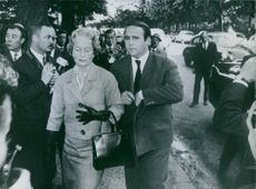 Prince Sadruddin Aga Khan seen with his mother, Princess Andree arriving in Paris shortly after Aly Khan's death.