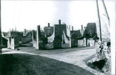 View of ruin after the war.  1971