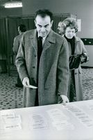 A photo of French Communist Party from 1972 to 1994, Georges Marchais looking at papers.