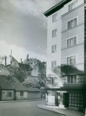 View of building and houses.