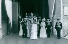 The royal family of Norway during the wedding of Miss Sonja to Crown Prince Harald. 1968