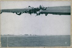 A damaged part of the wing of an English airplane during the war.