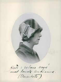 A photo of a woman wearing a cloche hat. 1920