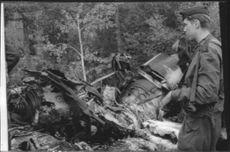 The plane of decesased Lieutenant Hermann's after the impact in the forest. Collision between two Saab 35 Draken aircraft
