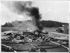 The newspaper plane that crashed and caught fire at Bromma airport.