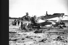 The wreck of the crashed plane at Barkarby airfield.