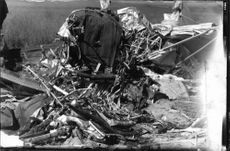 Aircraft wreckage after the crash of unrecognizable rubble