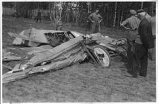 Lieutenant B. Lindhags crashed flying machine in tatters at aircraft accident