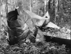 Wreckage of crashed Saab 29 Flying Barrel.