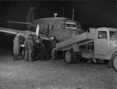 The British aircraft 'Concordia' after a dramatic landing at Bromma airfield.
