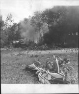 The wreckage of an American bomber aircraft of type Boeing B-17 Flying Fortress, that crashed in southern Sweden