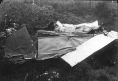 Crashed aircraft wreckage at the plane crash in the woodsView, crushed, aircraft.