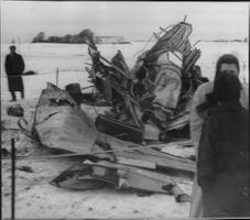 Wreck of the Swedish Saab 29 'flying barrel' in Alme, close to Helsingor in Denmark.