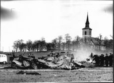 Aviation accident where fyrmotoright Lancaster bomber struck violently in the ground next to Slack church in Linköping area