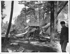 The remains of the wrecked aircraft at the Svea airbase where field aviator of the first degree Bror Magnus Persson died.