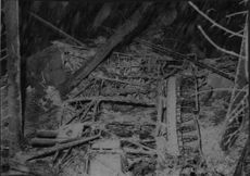 The debris of the crashed fighter of sergeant Olsson after the collision that caused the death of Lieutenant Detlof.