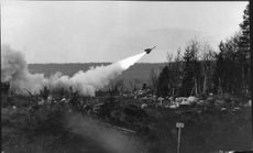 A Hawk Missile is launched from a command center at Vidsel Test Range.