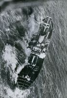 Aerial view of the US ship Flying Enterprise.