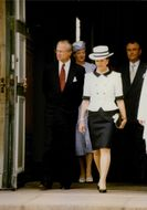 Queen of Denmark, Margrethe II and husband Henri walking behind King and Queen of Sweden, Carl XVI Gustaf and Silvia. 1997.