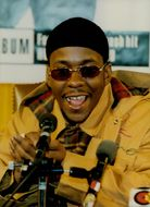 Bobby Brown on the microphone.
