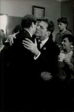 Christian Marquand embracing Jean-Pierre Aumont.