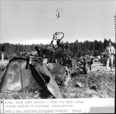 The wreckage of the A-registered Volvo Duett that blew up outside Nyköping