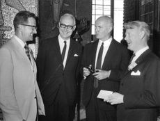 Sven Almqvist, Hilding Sjöberg, Sten Friberg and Bernt Hökfelt in conversation before hormone research congress opening in the Blue Hall.